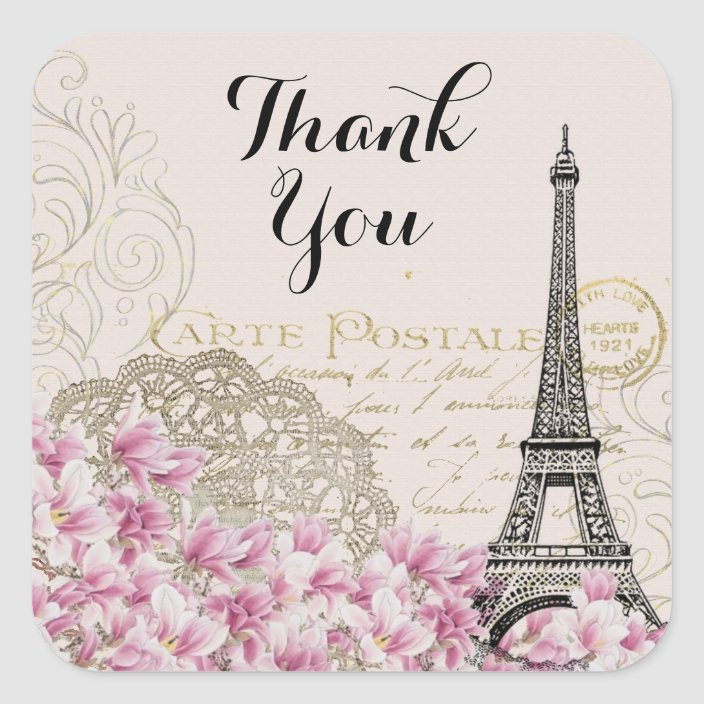 Set of 20 Eiffel Tower Thank You Stickers
