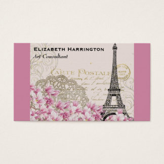 Vintage Eiffel Tower Collage with Pink WIldflower Business Card