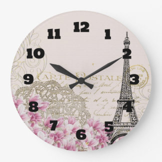 Vintage Eiffel Tower Collage with Pink Wildflowers Large Clock