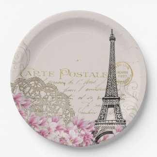 Vintage Eiffel Tower Collage with Pink Wildflowers Paper Plate