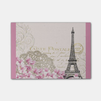 Vintage Eiffel Tower Collage with Pink WIldflowers Post-it® Notes
