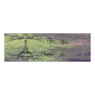 Vintage Eiffel Tower Double-Sided Mini Business Cards (Pack Of 20)