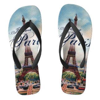 Vintage Eiffel Tower Flip Flops