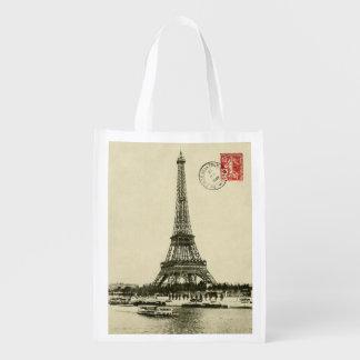 Vintage Eiffel Tower in Paris France Reusable Grocery Bag