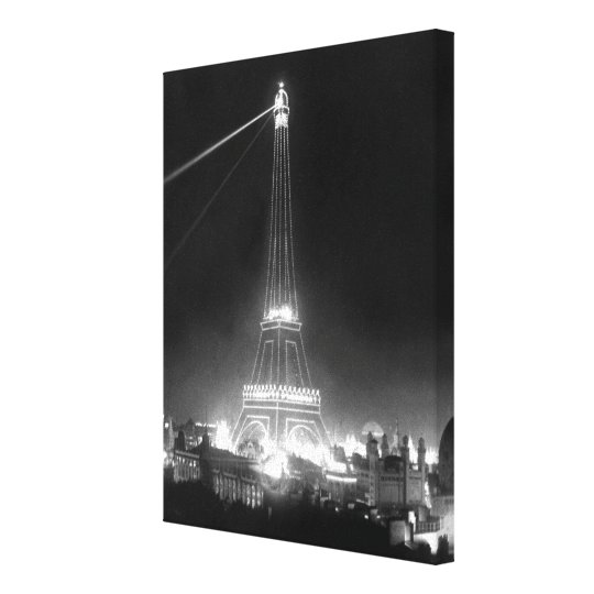 Vintage Eiffel Tower Night Black and White Photo Canvas Print