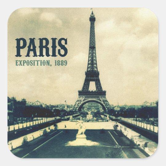Vintage Eiffel Tower, Paris, 1889 Square Sticker