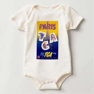 Vintage Eiffel Tower Paris Air Travel Advertising Baby Bodysuit