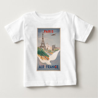 Vintage Eiffel Tower Paris Air Travel Advertising Baby T-Shirt