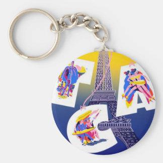 Vintage Eiffel Tower Paris Air Travel Advertising Keychain