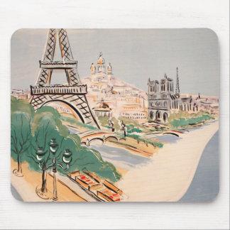 Vintage Eiffel Tower Paris Air Travel Advertising Mouse Pad