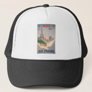 Vintage Eiffel Tower Paris Air Travel Advertising Trucker Hat