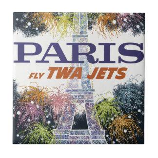 Vintage Eiffel Tower Paris Air Travel Ceramic Tile