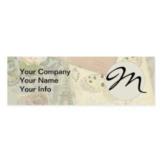 Vintage Eiffel Tower Paris France Monogram Double-Sided Mini Business Cards (Pack Of 20)