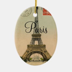 Vintage Eiffel Tower Paris France Postcard Ceramic Ornament at Zazzle