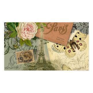 Vintage Eiffel Tower Paris France Travel collage Business Card