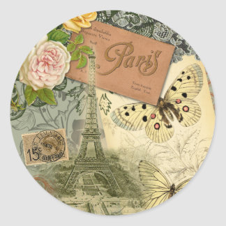 Vintage Eiffel Tower Paris France Travel collage Classic Round Sticker