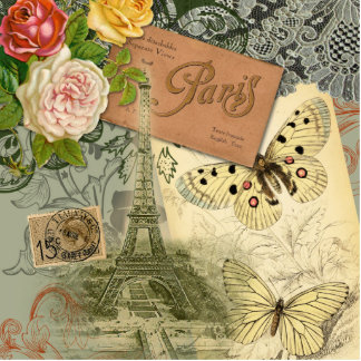 Vintage Eiffel Tower Paris France Travel collage Cutout