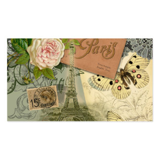 Vintage Eiffel Tower Paris France Travel collage Double-Sided Standard Business Cards (Pack Of 100)