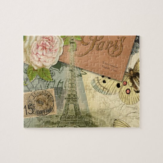 Vintage Eiffel Tower Paris France Travel collage Jigsaw Puzzle