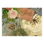 Vintage Eiffel Tower Paris France Travel collage Large Business Card