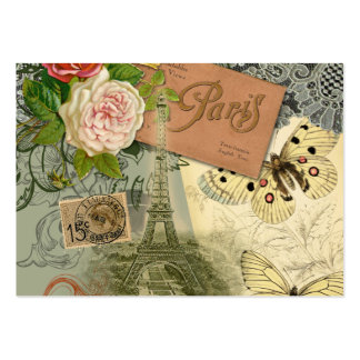 Vintage Eiffel Tower Paris France Travel collage Large Business Cards (Pack Of 100)