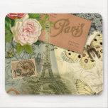 Vintage Eiffel Tower Paris France Travel collage Mousepads