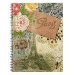 Vintage Eiffel Tower Paris France Travel collage Notebooks