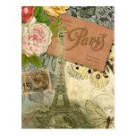 Vintage Eiffel Tower Paris France Travel collage Post Cards