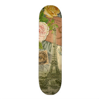 Vintage Eiffel Tower Paris France Travel collage Skateboard Deck