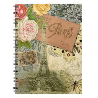 Vintage Eiffel Tower Paris France Travel collage Spiral Notebook