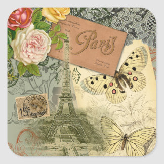 Vintage Eiffel Tower Paris France Travel collage Square Sticker