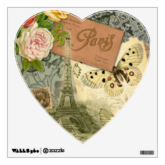 Vintage Eiffel Tower Paris France Travel collage Wall Decal