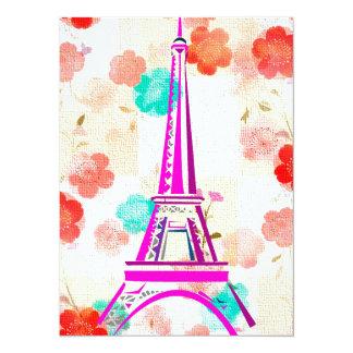 Vintage Eiffel Tower- Paris 5.5x7.5 Paper Invitation Card