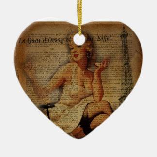 vintage eiffel tower Paris pin up girl Ceramic Ornament