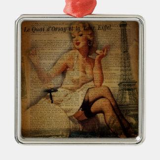 vintage eiffel tower Paris pin up girl Metal Ornament
