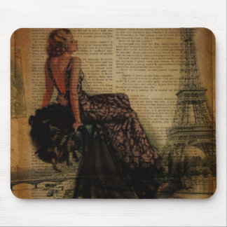 vintage eiffel tower Paris pin up girl Mouse Pad