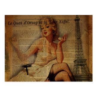 vintage eiffel tower Paris pin up girl Postcard