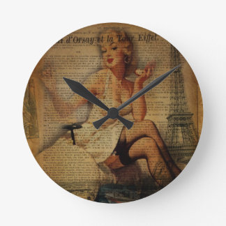 vintage eiffel tower Paris pin up girl Round Clock