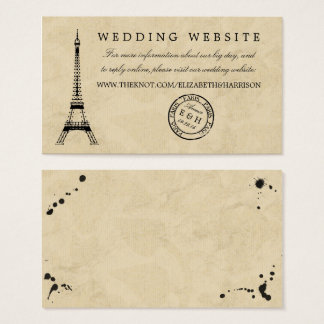 Vintage Eiffel Tower Paris Postmark Wedding Business Card