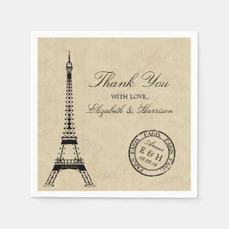 Vintage Eiffel Tower Paris Postmark Wedding Paper Napkin