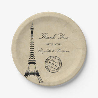 Vintage Eiffel Tower Paris Postmark Wedding Paper Plate