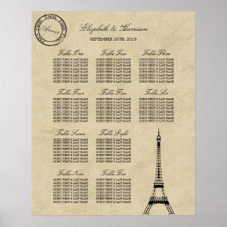 Vintage Eiffel Tower Paris Postmark Wedding Poster