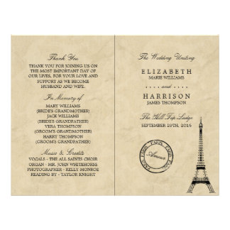 Vintage Eiffel Tower Paris Wedding Program