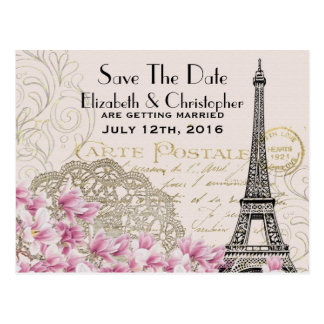 Vintage Eiffel Tower Parisian Style Save The Date Postcard