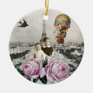Vintage Eiffel Tower Pink Roses Hot Air Balloon Ceramic Ornament