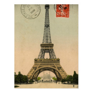 Vintage Eiffel Tower Post Card Design