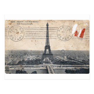 Vintage Eiffel Tower Post Card