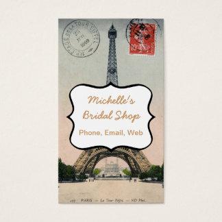 Vintage Eiffel Tower Postcard Business Card