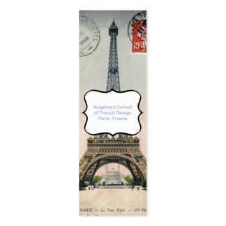 Vintage Eiffel Tower Postcard Double-Sided Mini Business Cards (Pack Of 20)