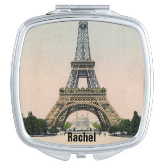 Vintage Eiffel Tower Postcard Compact Mirror